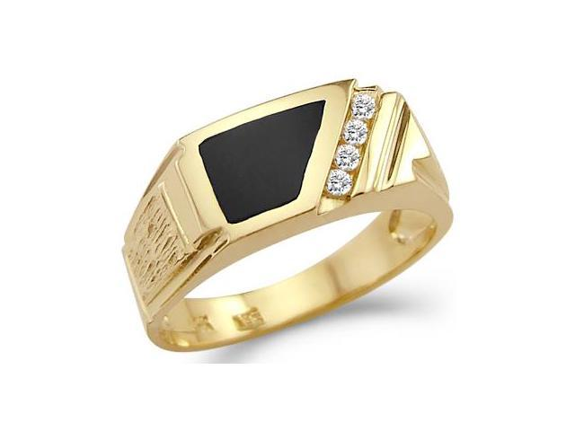 New Solid 14k Yellow Gold Mens CZ Cubic Zirconia Onyx High Polish Ring