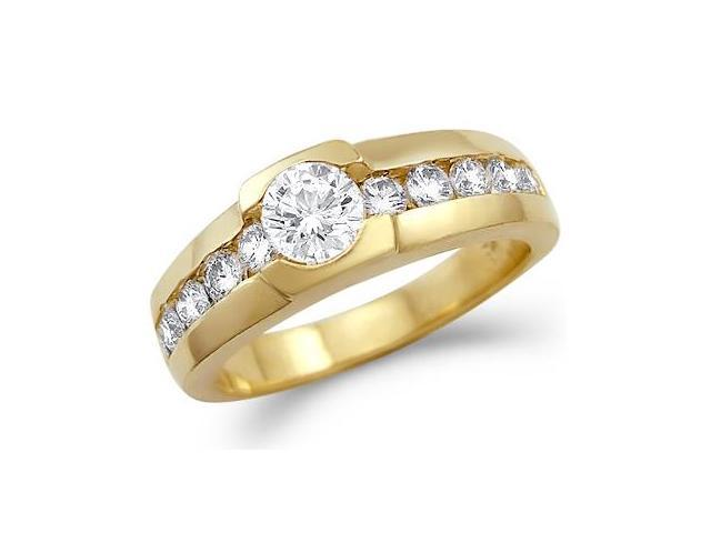 Solid 14k Yellow Gold Mens CZ Cubic Zirconia Wedding Band Fashion Ring New 1.0 ct