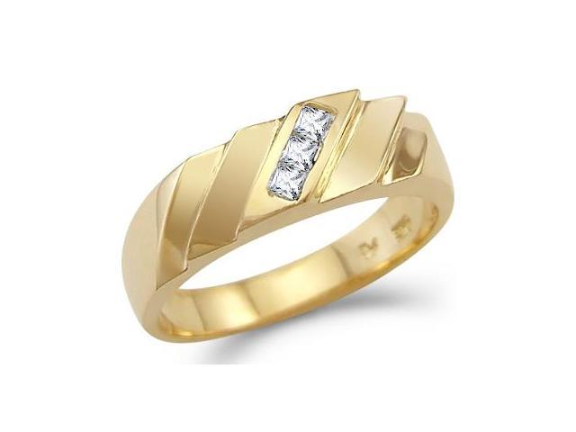 New Solid 14k Yellow Gold Mens Fashion CZ Cubic Zirconia Band Ring