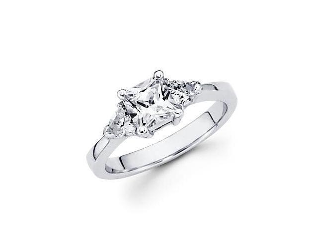 14k White Gold 3 Stone Trillion Diamond Semi Mount Ring (G-H, SI1)-1.25 Ct Center Stone Not Included