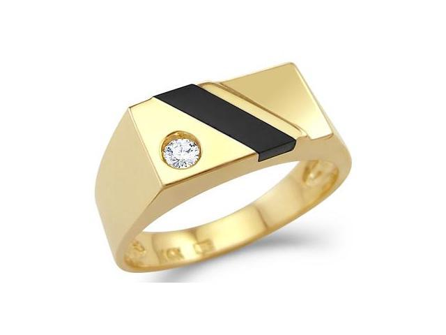 New Solid 14k Yellow Gold Mens Onyx CZ Cubic Zirconia Ring High Polish