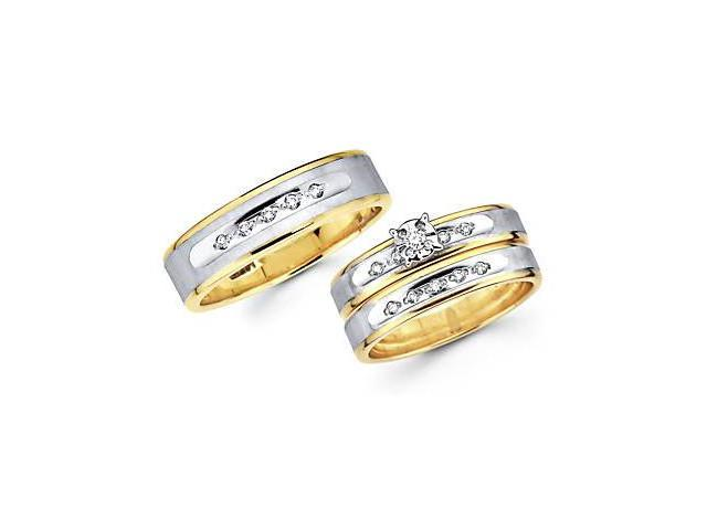 .18ct Diamond 14k Two Tone Gold Engagement Wedding Trio His and Hers Ring Set (HI, I1)