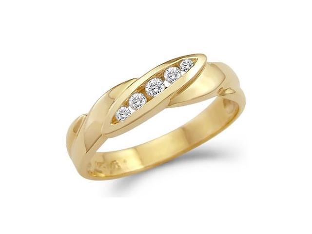 Solid 14k Yellow Gold Mens Wedding Band Fashion CZ Cubic Zirconia Ring 0.5 ct