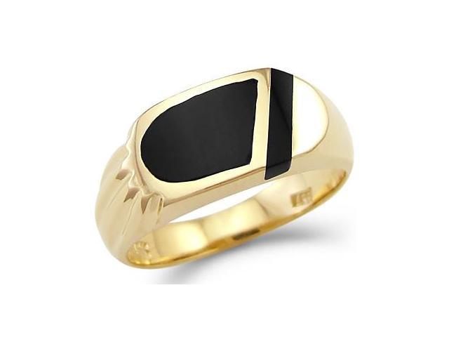 New Solid 14k Yellow Gold Ladies Mens Onyx Ring Band