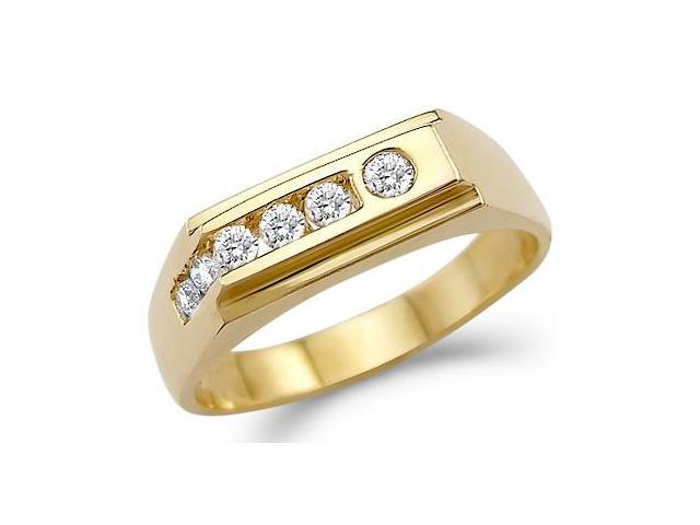 Solid 14k Yellow Gold Mens Wedding Band New CZ Cubic Zirconia Ring 0 5 Ct N