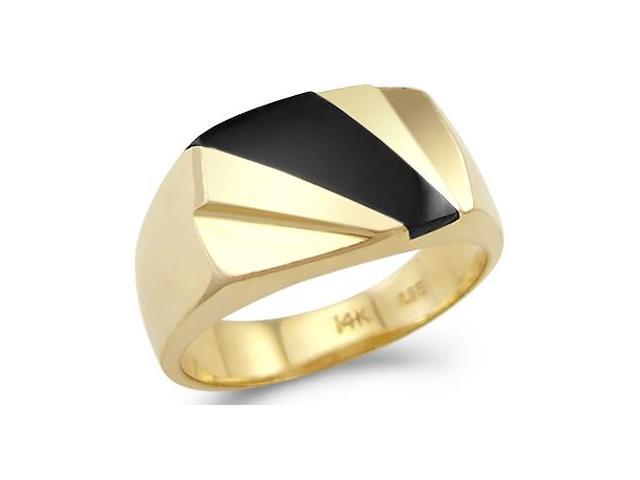 New Solid 14k Yellow Gold Heavy Ladies Mens Onyx Ring