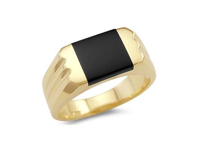 New Solid 14k Yellow Gold Mens Onyx Square Ring Band