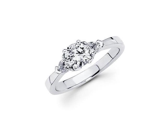 14k White Gold Three Stone Trillion Diamond Semi Mount Ring - 1.5ct Center Stone Not Included