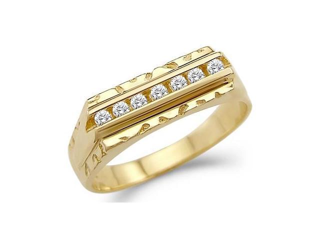 Solid 14k Yellow Gold Mens Fashion Wedding Band CZ Cubic Zirconia Ring 0.5 ct