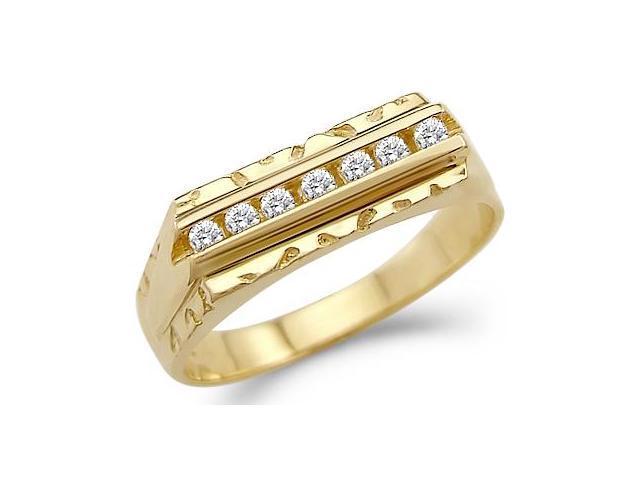Solid 14k Yellow Gold Mens Fashion Wedding Band CZ Cubic Zirconia Ring 0.5 ct