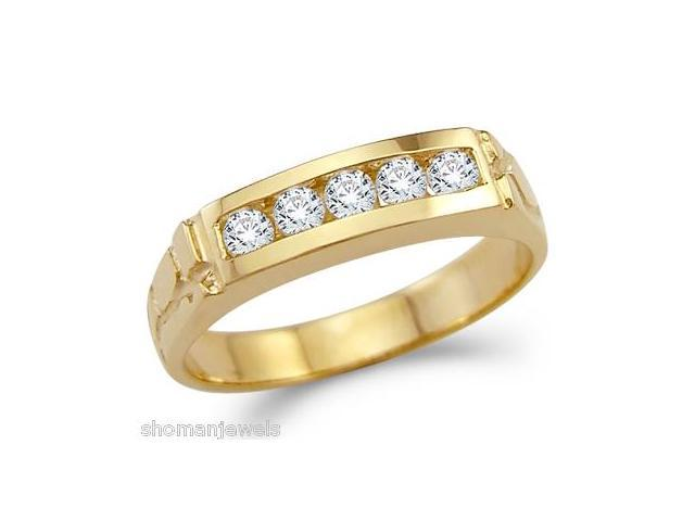 Solid 14k Yellow Gold Mens Nugget Wedding Band CZ Cubic Zirconia Ring 0.5 ct