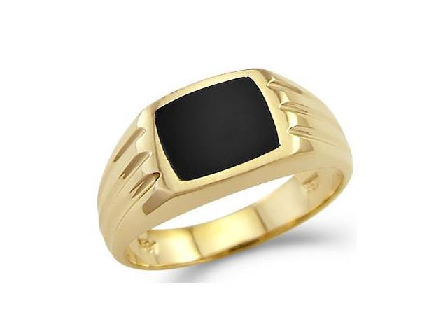 New Solid 14k Yellow Gold Mens Square Onyx Ring Band