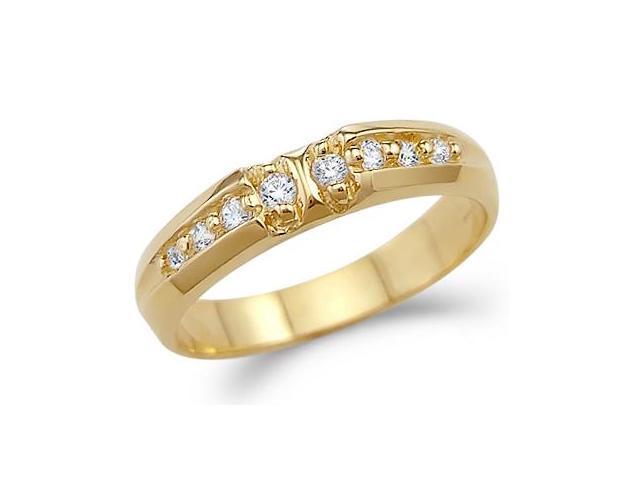 Solid 14k Yellow Gold Mens Fashion Wedding Ring CZ Cubic Zirconia Band 0 5 Ct
