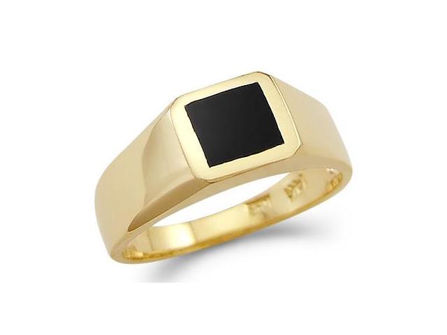 New 14k Yellow Gold Ladies Small Square Onyx Ring Band