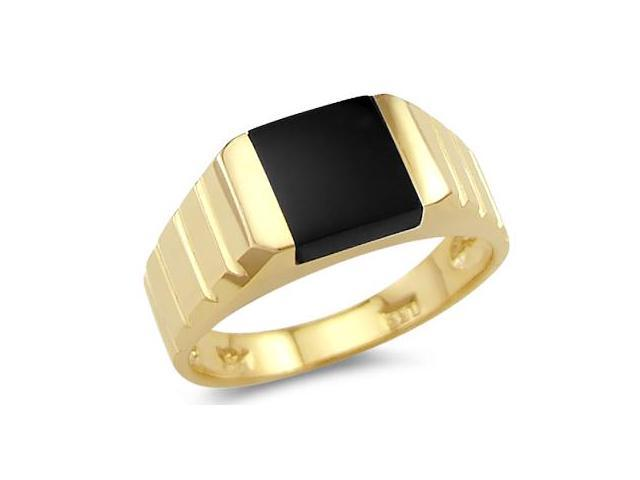 New Solid 14k Yellow Gold Ladies Square Onyx Ring Band