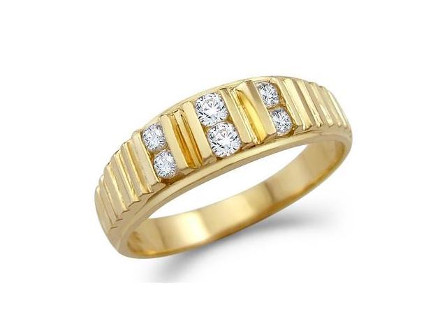 Solid 14k Yellow Gold Mens Fashion CZ Cubic Zirconia Wedding Ring Band 0.5 ct