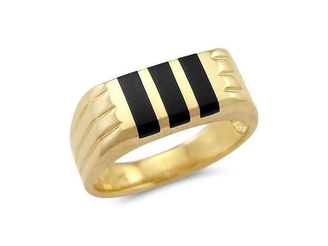 New Solid 14k Yellow Gold Mens Onyx Stripe Band Ring