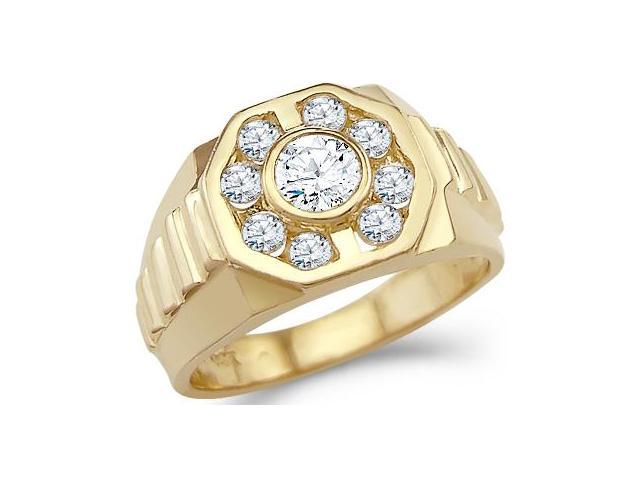 Solid 14k Yellow Gold Mens Big CZ Cubic Zirconia Wedding Band Fashion Ring 1