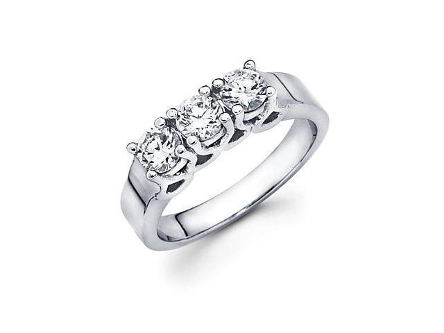 14k White Gold Past Present Future 3 Three Stone Round Diamond Ring .90 ct (G-H Color, SI2 Clarity)