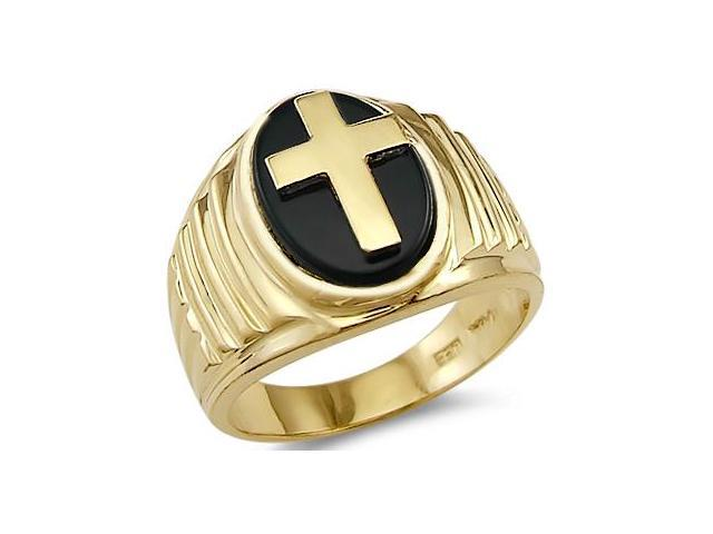 Solid 14k Yellow Gold Heavy Mens Onyx Cross Big Ring