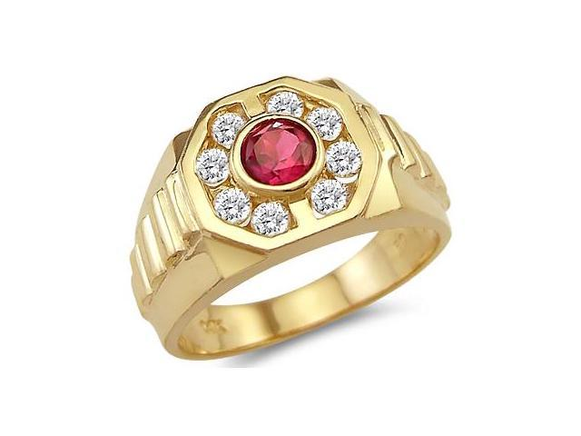 Solid 14k Yellow Gold Mens Fashion Ruby Wedding Band CZ Cubic Zirconia Ring 1.25 ct