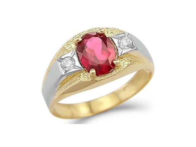 Solid 14k Yellow And White Gold Mens Ruby Wedding Band CZ Cubic Zirconia Ring