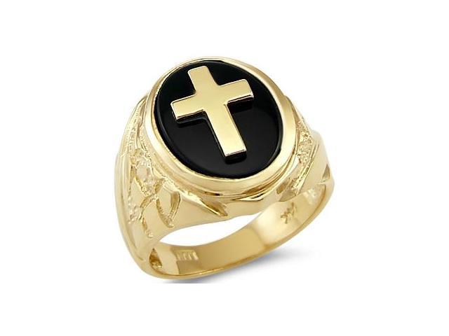 Solid 14k Yellow Gold Heavy Mens Onyx Cross Large Ring