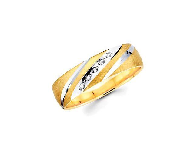 .05ct Diamond 14k Yellow n White Gold Mens Wedding Ring Band (H-I Color, I1 Clarity)
