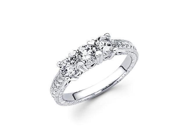 14k White Gold 3 Three Stone Round Diamond Ring 1.10 ct (G-H Color, SI2 Clarity)