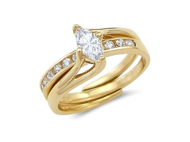 Solid 14k Yellow Gold Ladies Engagement Wedding CZ Cubic Zirconia 2 Ring Set 1.0 ct