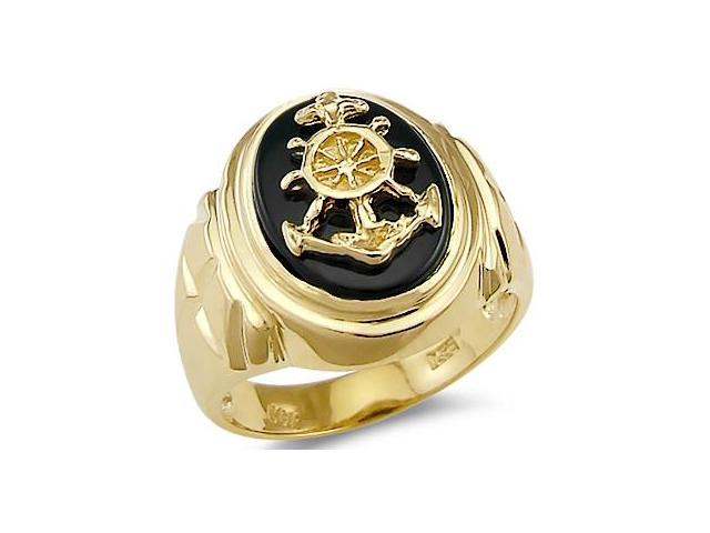 Solid 14k Yellow Gold Mens Heavy Large Onyx Anchor Ring