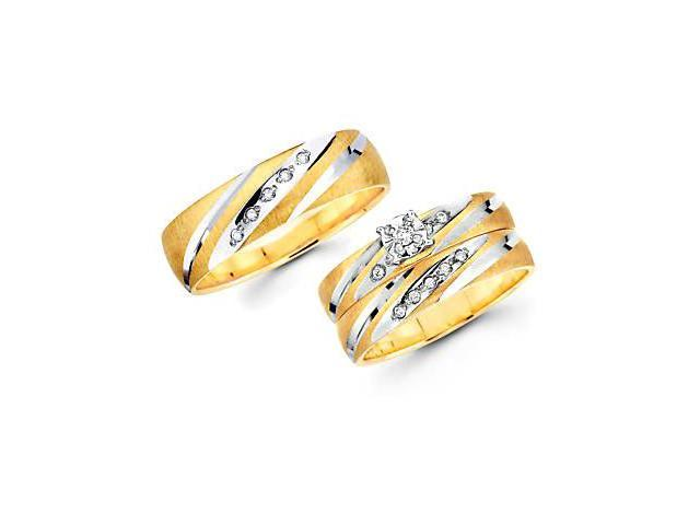 .18ct Diamond 14k Yellow n White Gold Engagement Wedding Trio His and Hers Ring Set (HI, I1)