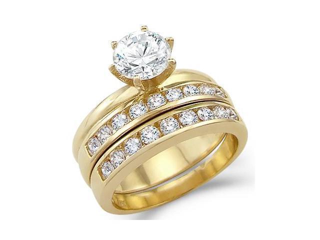 Solid 14k Yellow Gold Ladies Engagement Wedding Set CZ Cubic Zirconia Ring Round Cut 2.5 ct