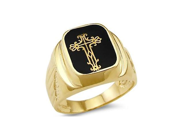 New Solid 14k Yellow Gold Mens Unique Onyx Cross Ring