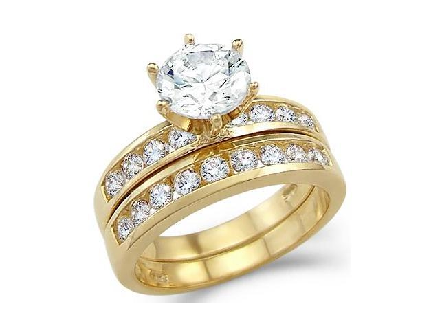 Solid 14k Yellow Gold Channel Engagement Wedding CZ Cubic Zirconia Ring Set Round Cut 2.5 ct