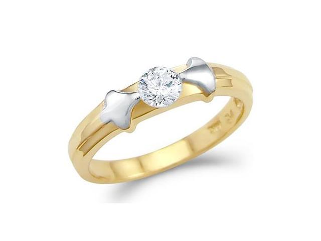 New Solid 14k Yellow Gold Solitaire CZ Cubic Zirconia Engagement Ring Shiny Round Cut 0.25 ct