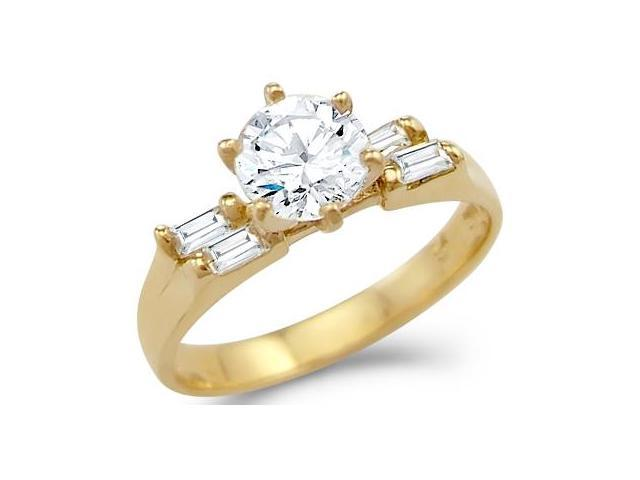Solid 14k Yellow Gold Solitaire CZ Cubic Zirconia Engagement Ring New 1.0 ct