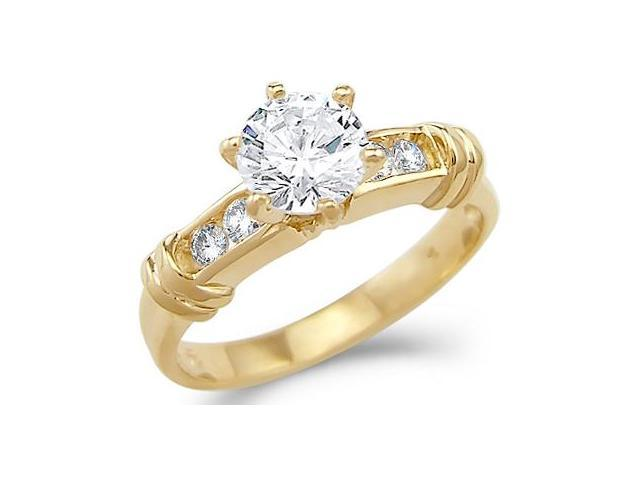 Solid 14k Yellow Gold Solitaire CZ Cubic Zirconia Engagement Ring 1.25 ct. Round Cut