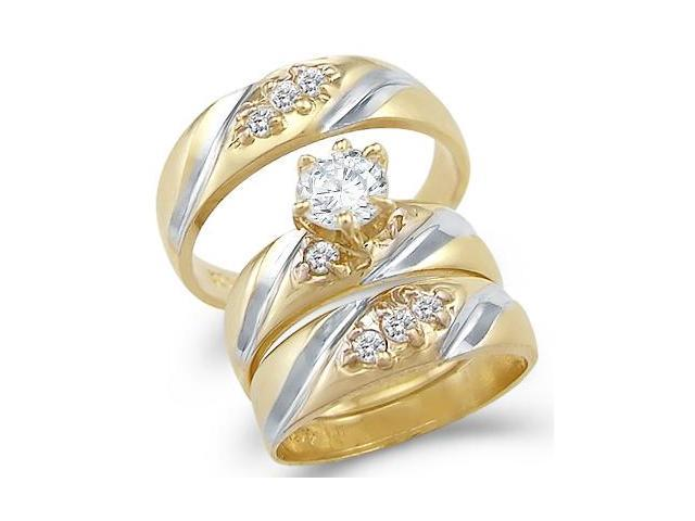 14k Yellow and White Gold Engagement Wedding His and Hers Trio Three Piece CZ Ring Set Round Cut