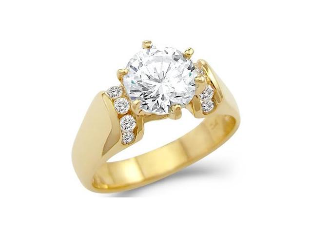 Solid 14k Yellow Gold Solitaire CZ Cubic Zirconia Engagement Ring 1.75 ct. Round Cut