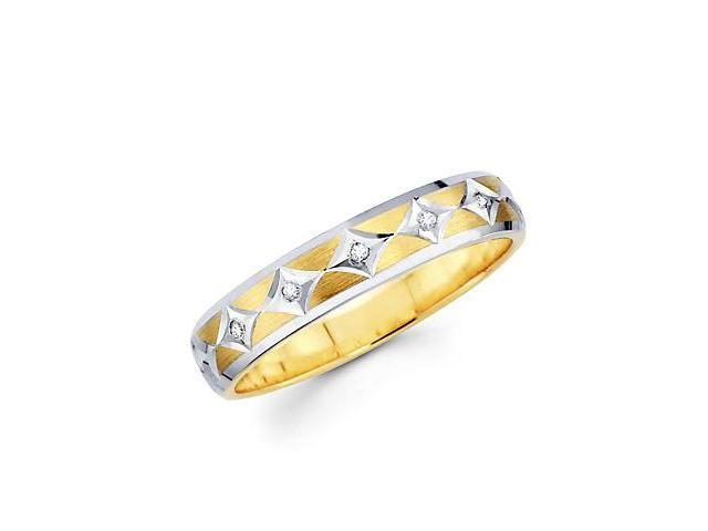 .05ct Diamond 14k Yellow Two Tone Gold Wedding Ring Band (H-I Color, I1 Clarity)