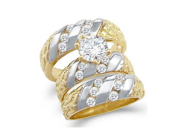 14k Two Tone Gold CZ Engagement Wedding Nugget His and Hers Trio Three Piece Ring Set Round Cut