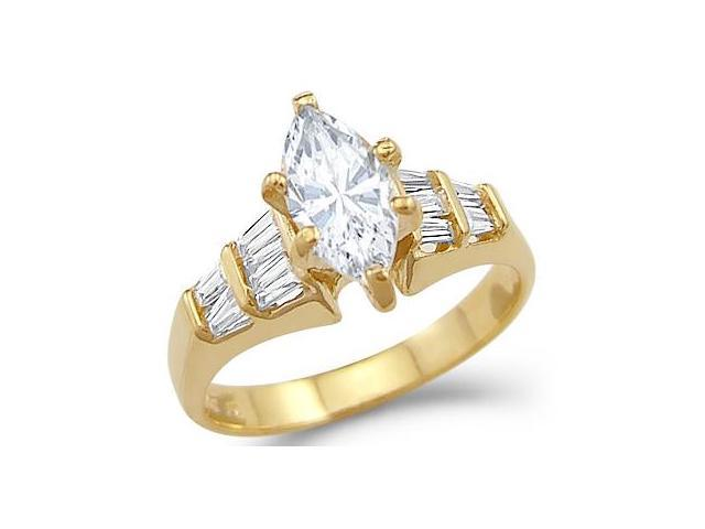 Solid 14k Yellow Gold Marquise CZ Cubic Zirconia Engagement Ring New Classic 1.0 ct