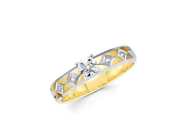 .08ct Diamond 14k Yellow White Two Tone Gold Engagement Ring (H-I Color, I1 Clarity)