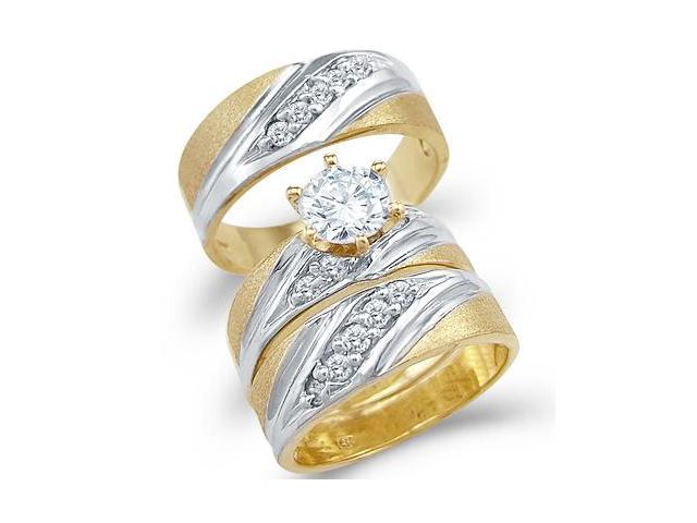 14k Yellow Two Tone Gold CZ Engagement Wedding His and Hers Trio Three Piece Ring Set Round Cut
