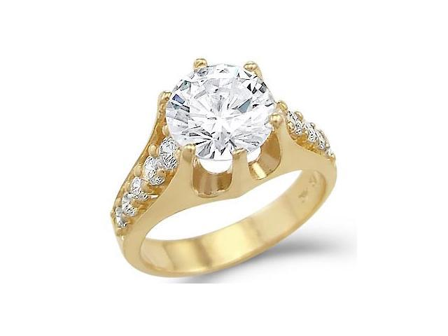 Solid 14k Yellow Gold Big Solitaire CZ Cubic Zirconia Engagement Ring 3.0 ct Round Cut