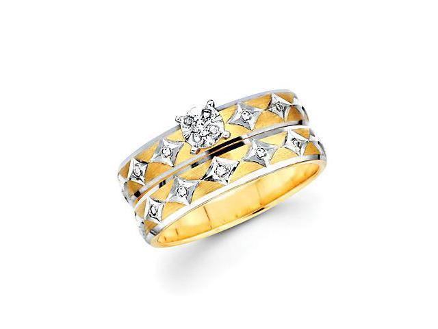 .13ct Diamond 14k Two Tone Gold Engagement Wedding 2 Ring Set (H-I Color, I1 Clarity)