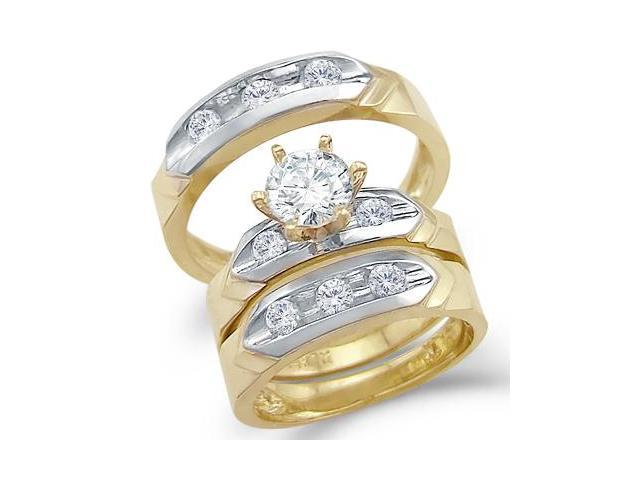 14k 2 Tone Gold Matching CZ Engagement Wedding His and Hers Trio Three Piece Ring Set Round Cut
