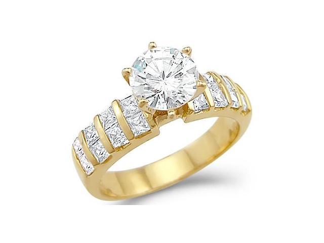 Solid 14k Yellow Gold Solitaire CZ Cubic Zirconia Classic Engagement Ring 2.0 ct