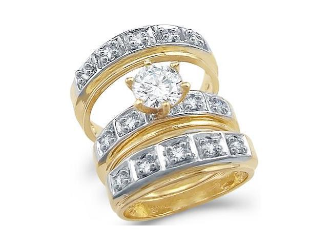 14k Yellow and White Gold CZ Wedding Engagement His and Hers Trio Three Piece Ring Set Round Cut